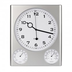 Clock + Hygrometer and Thermometer - Silver